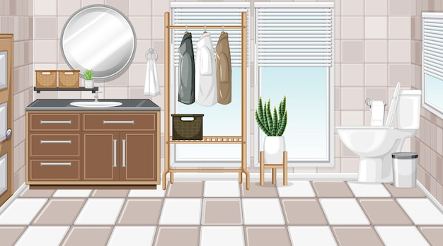 Bathroom interior with furniture in beige and white theme
