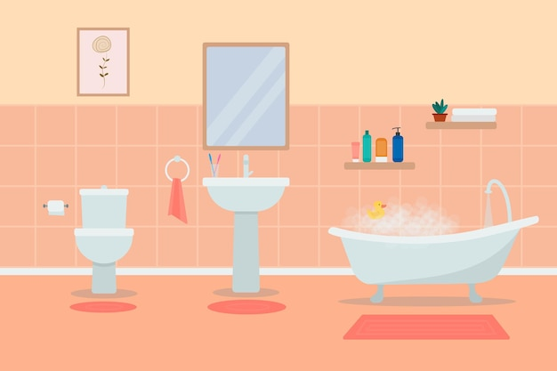 家具付きのバスルームのインテリア。フラットなイラスト。