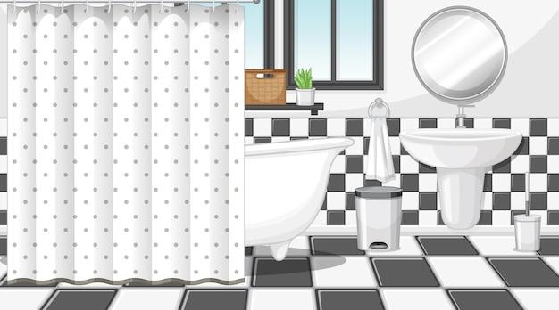 黒と白をテーマにした家具付きのバスルームのインテリア
