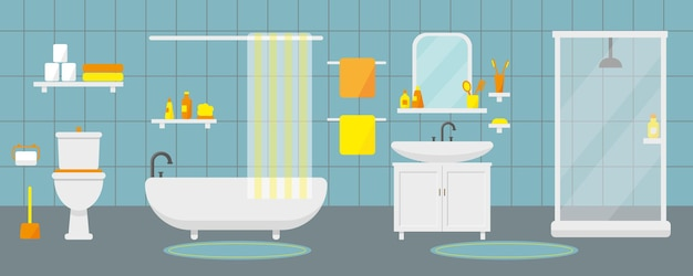 Bathroom interior with furniture and plumbing.