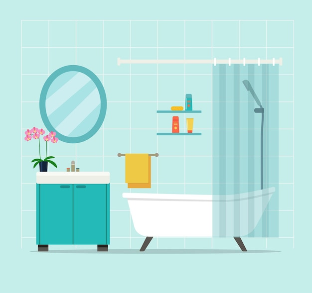 Bathroom interior with orchid. vector illustration.