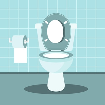 Интерьер ванной комнаты с унитазом и туалетной бумагой