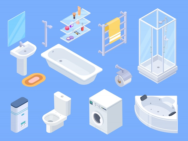 浴室等尺性。バスルームインテリア等尺性要素、トイレの水クローゼット、タオルドライヤー、洗面台、シャワー
