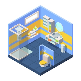 Bathroom isometric . compact bathroom concept closed shower toilet behind partition, corner with mirror combined washstand shelves storing towels shampoo soap.