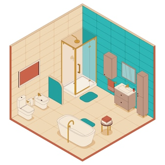 Bathroom in isometric style. shower cabin, bath and toilet