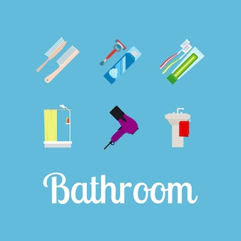 Bathroom items flat icon set