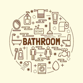 バスルーム最小細線アイコンが設定されています