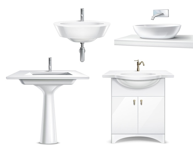 Bathroom objects realistic 3d collection with isolated  white ceramic fitments for bath and toilet Free Vector