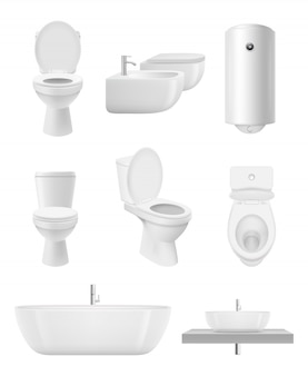 Bathroom objects. toilet sink shower washroom  realistic collection