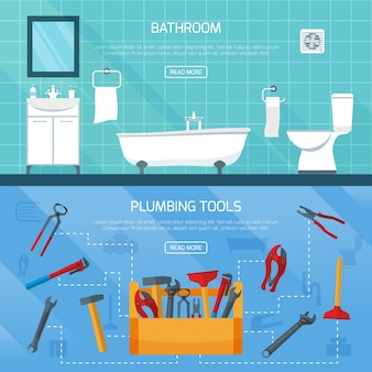 Bathroom plumbing banners set