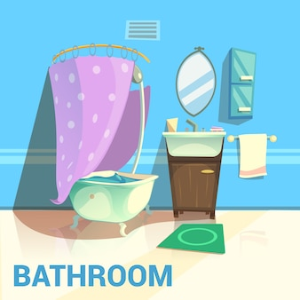 Bathroom retro design with bath mirror water and soap cartoon