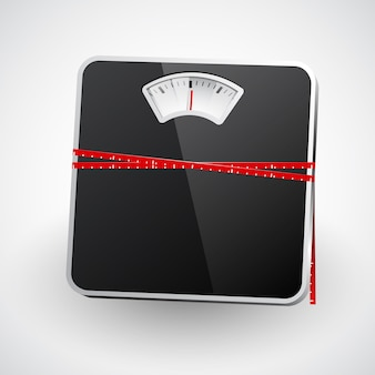 A bathroom scale with a measuring tape.
