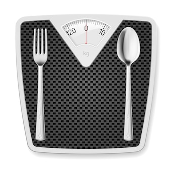 Bathroom scales with fork and spoon.