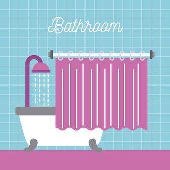 Bathroom shower bathtub with curtain and blue tile wall