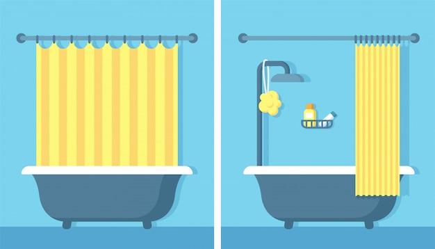 Интерьер ванной душевой в плоском мультяшном стиле с открытой и закрытой душевой занавеской.
