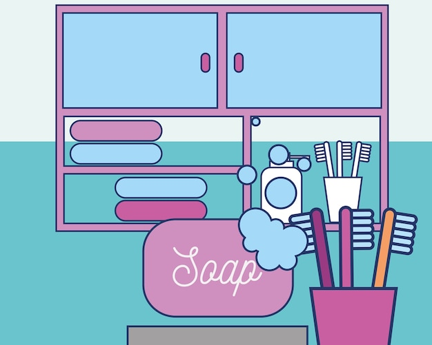 Bathroom soap foam toothbrushes drawers and towels