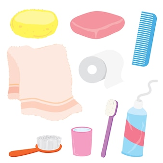 Bathroom stuffs product home household object cartoon vector