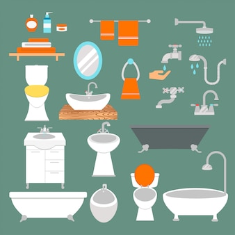 Bathroom and toilet elements flat style vector isolated