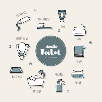 Bathroom and toilet hand drawn doodle icons set.