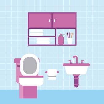 バスルームトイレシンク紙の家具キャビネットと青いタイルの壁