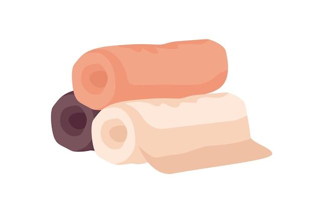 욕실 수건 평면 벡터 일러스트 레이 션. 흰색 배경에 격리된 베이지색, 주황색, 갈색 롤 수건 더미. 스파 센터, 호텔 섬유 액세서리. 고급스러운 부드러운 욕실 린넨.