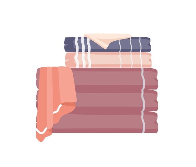 Bathroom towels pile flat colorful illustration