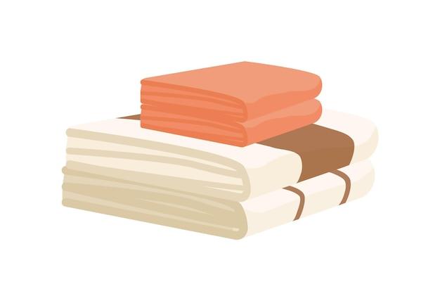 Bathroom towels pile flat illustration