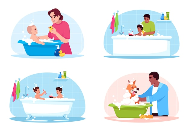 Bathroom washing semi  rgb color  illustration set. mother clean child. kids play in bathtub. pet owner wash dog. family  cartoon characters on white background collection