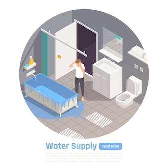 Bathroom and water supply system problems circular isometric illustration