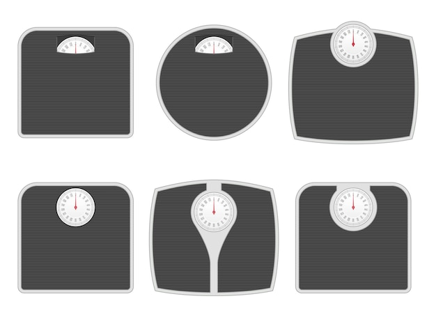 Bathroom weighing scale in different shapes vector illustration