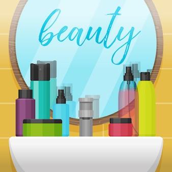 Ванная комната с зеркалом и красочными косметическими бутылками