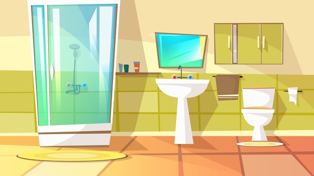 Bathroom with stall shower illustration of home interior. domestic toilet