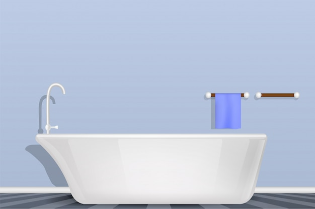Bathtub in bathroom concept , realistic style