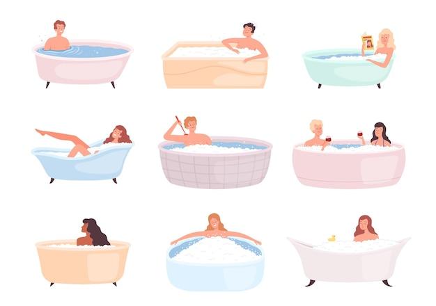 バスタブのキャラクター。入浴水を取っている人々は、ベクトルイラストを洗う泡幸せな人の治療をリラックスします。トイレにいる人、洗って世話をする人