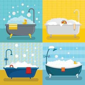 Bathtub foam shower set, flat style