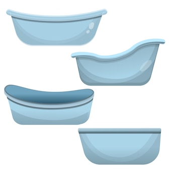 Bathtub icon set, cartoon style