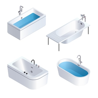 Bathtub icon set. isometric set of bathtub vector icons