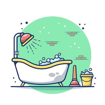 Ванна в туалете с щеткой, изолированной на белом