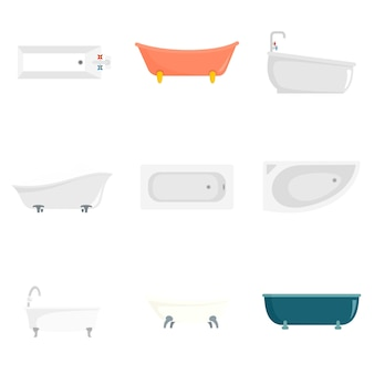 Bathtub interior icons set