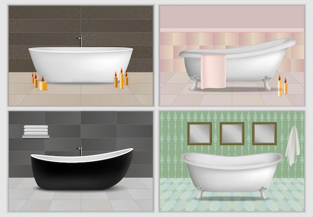 Набор макетов для интерьера ванной комнаты