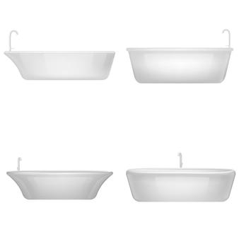 Набор макетов для душа и ванной. реалистичная иллюстрация 4 интерьерных макетов для душа