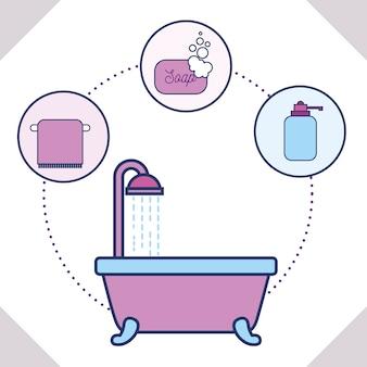 Bathtub towel soap and liquid soap bathroom
