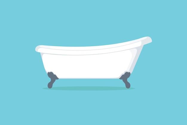 バスタブ。青い背景の上のバスルームに白いバスタブ。フラットスタイルのイラストデザイン。