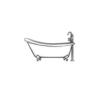Ванна с краном рисованной наброски каракули значок. мебель для ванной - векторная иллюстрация эскиза ванны для печати, интернета, мобильных устройств и инфографики, изолированных на белом фоне.