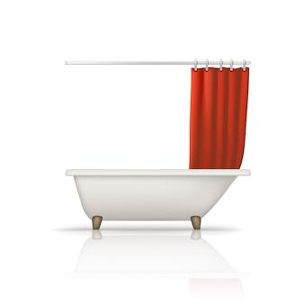 Bathtube red curtain