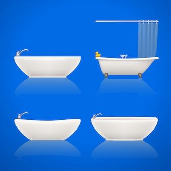 Bathtubes set on white