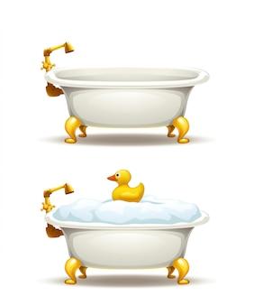 Bathtubs set on white