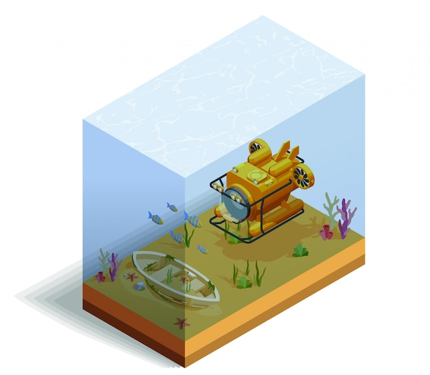 Bathyscaph underwater isometric composition
