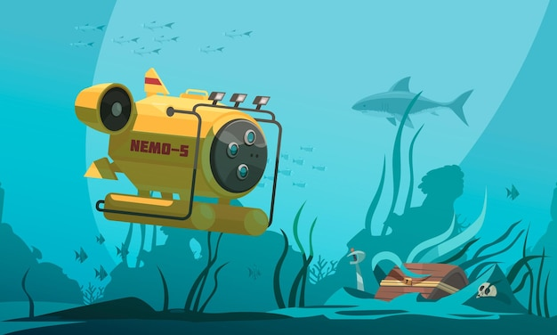 Bathyscaphe diving cabin approaches treasure chest on bottom of the sea surrounded by fish and seaweeds