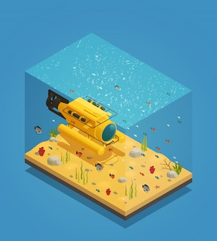 Bathyscaphe underwater equipment vector illustration